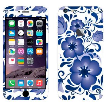 Виниловая наклейка «Крупный цветок пятилистник - Гжель» на телефон Apple iPhone 6 Plus/6S Plus