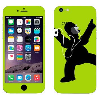 Виниловая наклейка «Гомер Симпсон с плеером» на телефон Apple iPhone 6 Plus/6S Plus