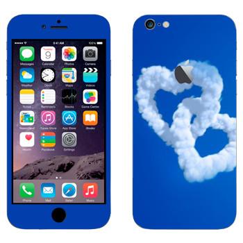Виниловая наклейка «Два сердца из облаков» на телефон Apple iPhone 6 Plus/6S Plus