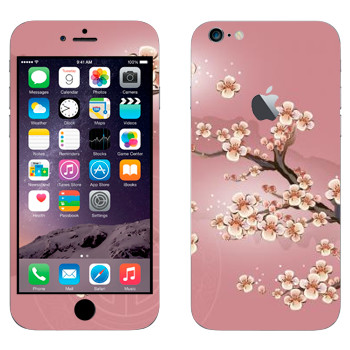 Виниловая наклейка «Сакура в цветах» на телефон Apple iPhone 6 Plus/6S Plus