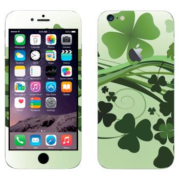Виниловая наклейка «Зеленый клевер» на телефон Apple iPhone 6 Plus/6S Plus