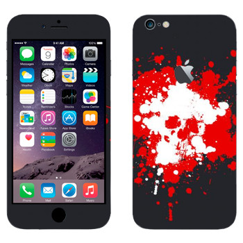 Виниловая наклейка «Череп нарисованный кляксами» на телефон Apple iPhone 6 Plus/6S Plus