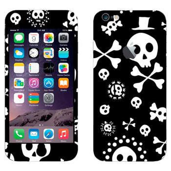 Виниловая наклейка «Черепа на черном фоне» на телефон Apple iPhone 6 Plus/6S Plus