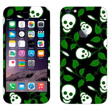 Виниловая наклейка «Черепа на зеленых ветках» на телефон Apple iPhone 6 Plus/6S Plus
