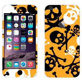 Виниловая наклейка «Черно-белые Весёлые Роджеры на желтом фоне» на телефон Apple iPhone 6 Plus/6S Plus