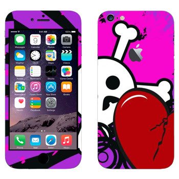 Виниловая наклейка «Эмо-череп и сердце» на телефон Apple iPhone 6 Plus/6S Plus