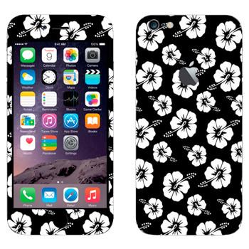 Виниловая наклейка «Гавайские цветы черно-белые» на телефон Apple iPhone 6 Plus/6S Plus
