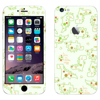 Виниловая наклейка «Милые динозаврики» на телефон Apple iPhone 6 Plus/6S Plus