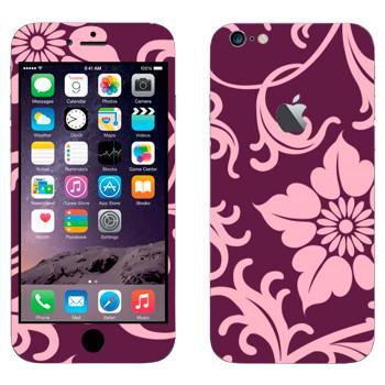 Виниловая наклейка «Орнамент из фиолетовых цветов» на телефон Apple iPhone 6 Plus/6S Plus