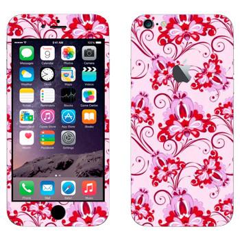 Виниловая наклейка «Орнамент розовые цветы» на телефон Apple iPhone 6 Plus/6S Plus