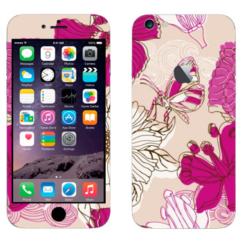 Виниловая наклейка «Розовая бабочка на цветах» на телефон Apple iPhone 6 Plus/6S Plus