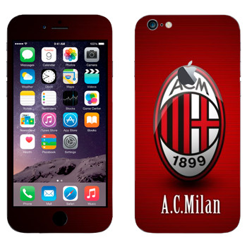 Виниловая наклейка «ФК Милан» на телефон Apple iPhone 6 Plus/6S Plus