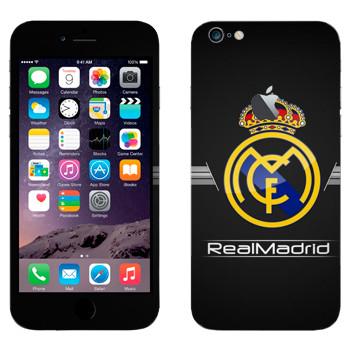 Виниловая наклейка «Реал Мадрид эмблема на черном фоне» на телефон Apple iPhone 6 Plus/6S Plus