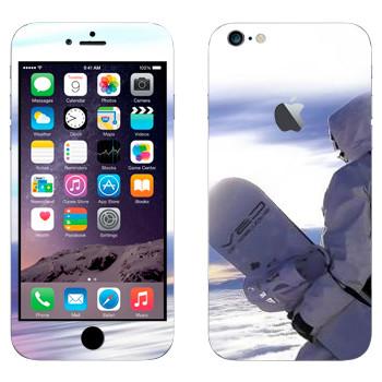 Виниловая наклейка «Сноубордист в белом» на телефон Apple iPhone 6 Plus/6S Plus