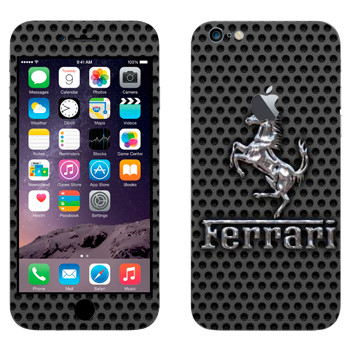 Виниловая наклейка «Эмблема Ferrari из металла» на телефон Apple iPhone 6 Plus/6S Plus