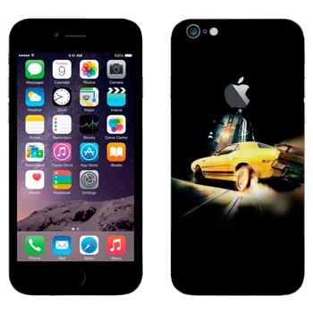Виниловая наклейка «Желтый ретро-спорткар» на телефон Apple iPhone 6 Plus/6S Plus