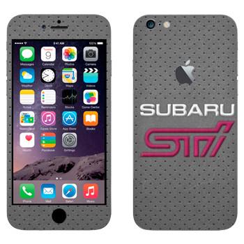 Виниловая наклейка «Надпись Subaru STI на сером фоне» на телефон Apple iPhone 6 Plus/6S Plus