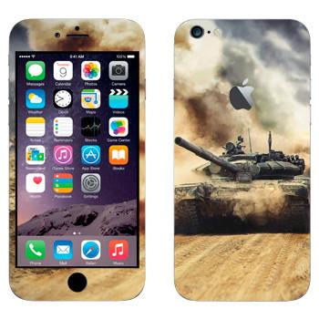 Виниловая наклейка «Танк Т-72 на пыльной дороге» на телефон Apple iPhone 6 Plus/6S Plus