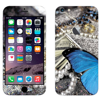 Виниловая наклейка «Бабочка и ювелирные украшения» на телефон Apple iPhone 6 Plus/6S Plus
