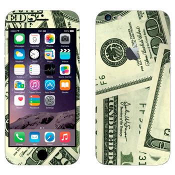 Виниловая наклейка «Банкноты по сто долларов» на телефон Apple iPhone 6 Plus/6S Plus