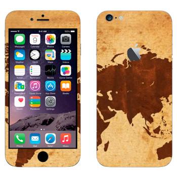 Виниловая наклейка «Карта мира коричневая» на телефон Apple iPhone 6 Plus/6S Plus
