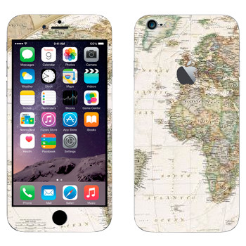 Виниловая наклейка «Карта мира» на телефон Apple iPhone 6 Plus/6S Plus