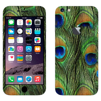 Виниловая наклейка «Перья павлина» на телефон Apple iPhone 6 Plus/6S Plus