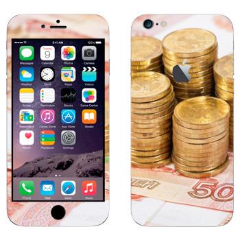 Виниловая наклейка «Российские рубли и монеты» на телефон Apple iPhone 6 Plus/6S Plus