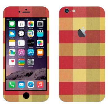 Виниловая наклейка «Ткань в крупную клетку коричнево-желтую» на телефон Apple iPhone 6 Plus/6S Plus