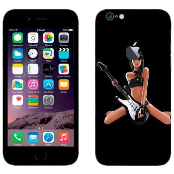 Виниловая наклейка «Брюнетка с гитарой» на телефон Apple iPhone 6/6S