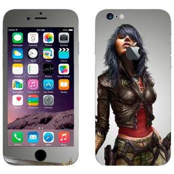 Виниловая наклейка «Девушка с мечом» на телефон Apple iPhone 6/6S