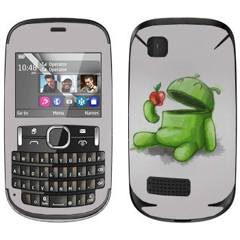 Виниловая наклейка «Android ест яблоко» на телефон Nokia Asha 200