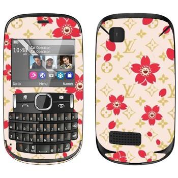 Виниловая наклейка «Louis Vuitton цветы» на телефон Nokia Asha 200