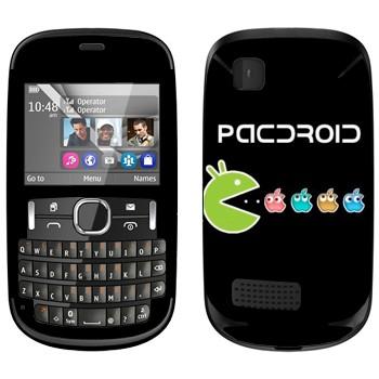 Виниловая наклейка «Pacdroid» на телефон Nokia Asha 200