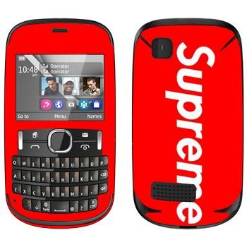Виниловая наклейка «Supreme на красном фоне» на телефон Nokia Asha 200