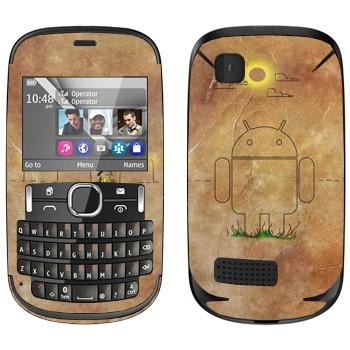 Виниловая наклейка «Эмблема Андроид на бумаге» на телефон Nokia Asha 200