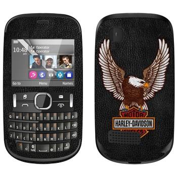 Виниловая наклейка «Harley-Davidson Motor Cycles» на телефон Nokia Asha 200