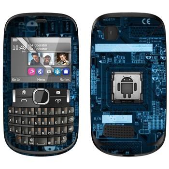 Виниловая наклейка «Логотип Android на материнской плате» на телефон Nokia Asha 200