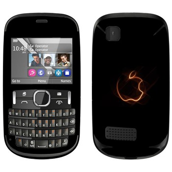 Виниловая наклейка «Неоновый логотип Apple» на телефон Nokia Asha 200