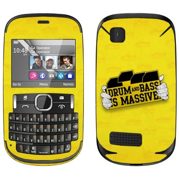 Виниловая наклейка «Drum and Bass IS MASSIVE» на телефон Nokia Asha 200