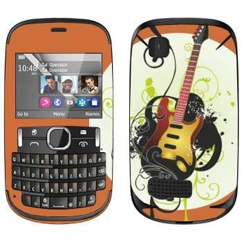 Виниловая наклейка «Электрогитара желтая» на телефон Nokia Asha 200