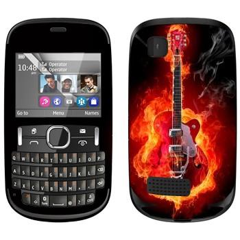 Виниловая наклейка «Гитара в огне» на телефон Nokia Asha 200