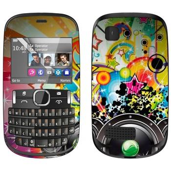 Виниловая наклейка «Музыкальная экспрессия - Динамики» на телефон Nokia Asha 200