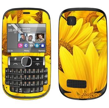 Виниловая наклейка «Желтые ромашки» на телефон Nokia Asha 200