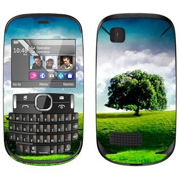 Виниловая наклейка «Одинокое дерево на лугу» на телефон Nokia Asha 200