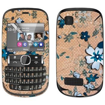 Виниловая наклейка «Васильковый рисунок» на телефон Nokia Asha 200