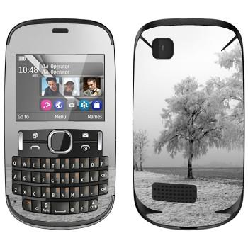 Виниловая наклейка «Заснеженное дерево» на телефон Nokia Asha 200