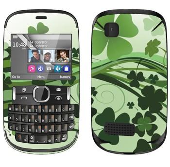 Виниловая наклейка «Зеленый клевер» на телефон Nokia Asha 200
