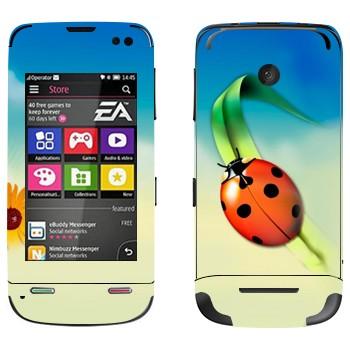 Виниловая наклейка «Божья коровка на травинке» на телефон Nokia Asha 311