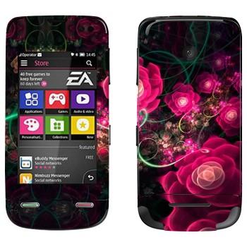 Виниловая наклейка «Цветущие маки абстракция» на телефон Nokia Asha 311
